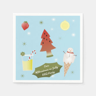 Christmas in July BBQ Party Custom Napkins Paper Napkins