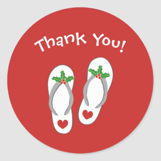 Christmas in July Holiday beach flip flop stickers