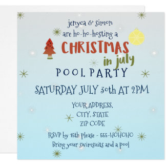 Christmas in July Pool Party Invite
