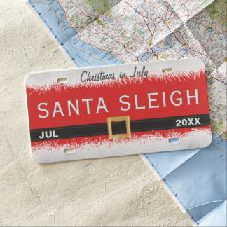 Christmas In July Red Santa Sleigh License Plate
