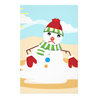 christmas in july snowman customized stationery