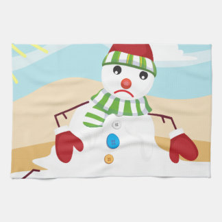 christmas in july snowman kitchen towel