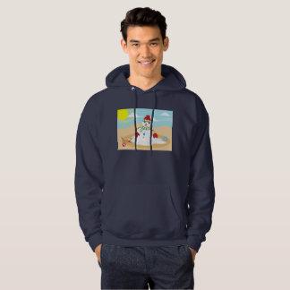 christmas in july snowman mens hooded sweatshirt