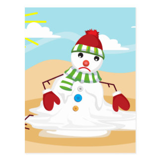 christmas in july snowman postcard