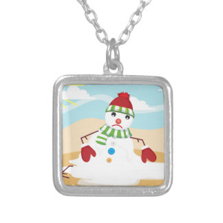 christmas in july snowman silver plated necklace