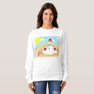 christmas in july snowman womens sweatshirt