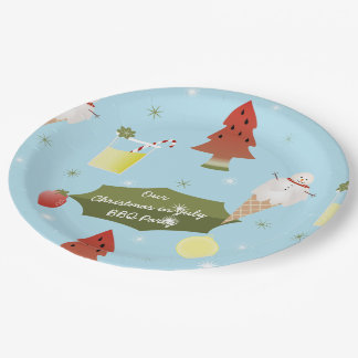 Christmas in July Summer BBQ Party Paper Plates