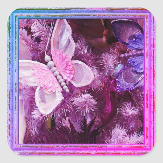 Christmas In Pink And Purple Square Sticker