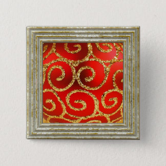 Christmas In Red And Gold 2 Inch Square Button