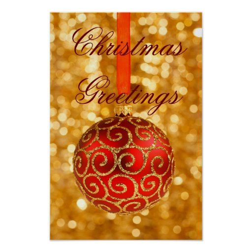 Christmas In Red And Gold Poster