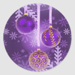 Christmas in royal purple postcard round sticker