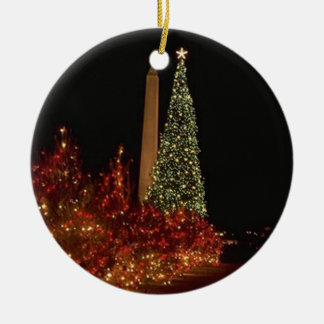 Christmas in Washington DC Round Ceramic Ornament