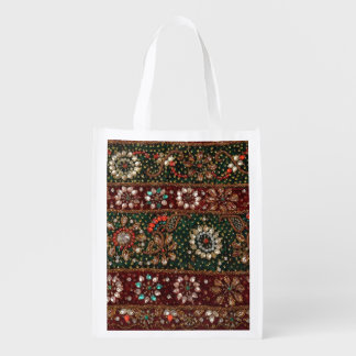 Christmas India Indian Textile Embroidery Bling Reusable Grocery Bag
