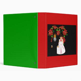 Christmas Interracial Wedding Couple Heart Wreath Vinyl Binders