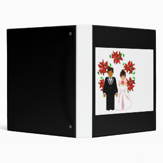 Christmas Interracial Wedding Couple With Wreath 3 Ring Binder