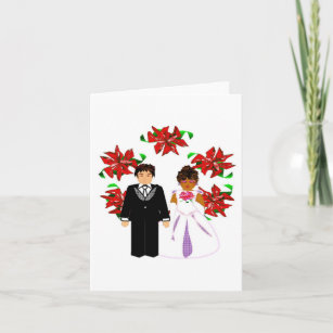 Interracial couple cards greeting cards more zazzle ca christmas interracial wedding couple with wreath holiday card m4hsunfo