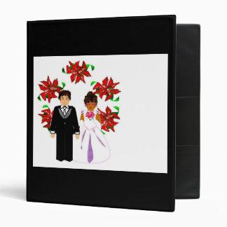 Christmas Interracial Wedding Couple With Wreath Vinyl Binders