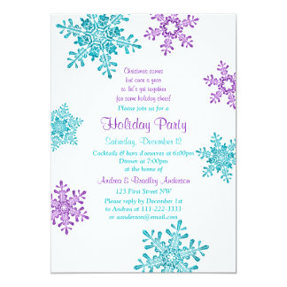 Christmas Invite | Purple Turquoise Snowflake