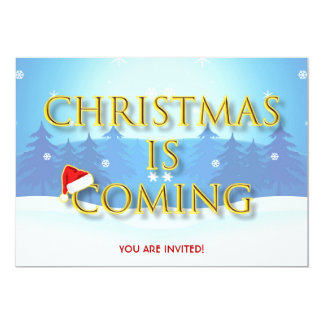 Christmas Is Coming With Santa Red Hat Cool Card