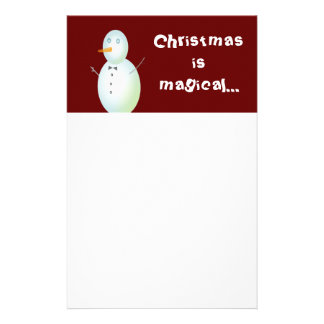 Christmas is Magical Snowman Stationary Customized Stationery