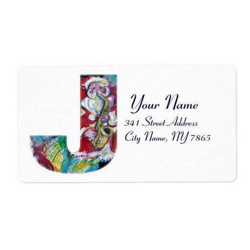 CHRISTMAS J LETTER /SANTA AND SAX MONOGRAM PERSONALIZED SHIPPING LABELS
