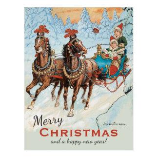 Christmas Jenny Nyström CC0932 Children in sleigh Postcard