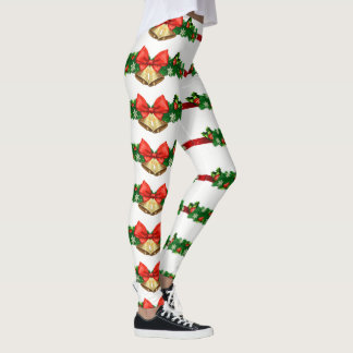 Christmas Jingle Bells Garland Red Green Gold Leggings