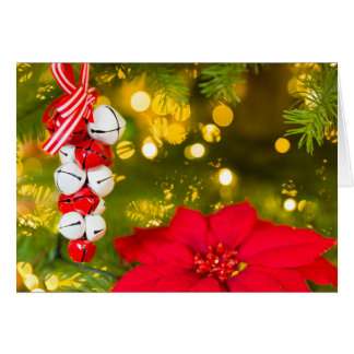 Christmas Jingle Bells Poinsettia Christmas Card