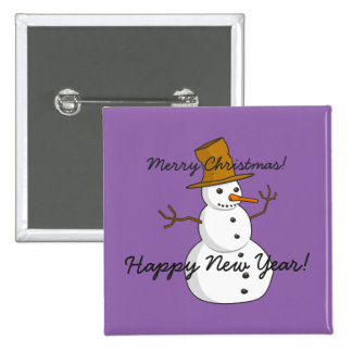 Christmas Jolly Snowman Postage 2 Inch Square Button
