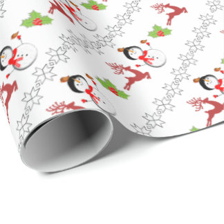 Christmas Jolly Snowmen Deer Holly Cute Patterned Wrapping Paper