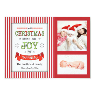 Christmas, Joy and Happiness Holiday Photo Card