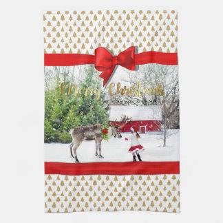 Christmas Joy and Peace Photo Kitchen Towel