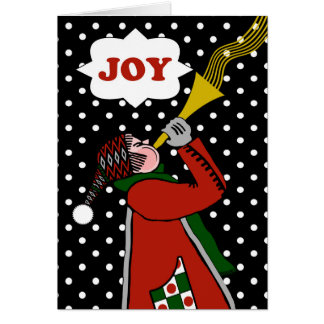 Christmas Joy, Blowing Horn in the Snow Storm Card