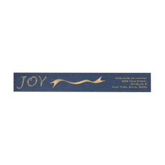 Christmas Joy blue gold elegant wrap around return Wrap Around Label
