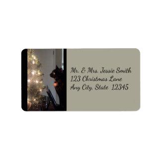 Christmas Joy Calico Cat Address Labels