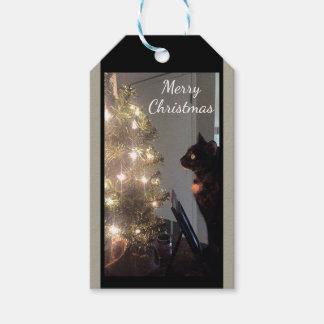 Christmas Joy Calico Cat Christmas Gift Tags