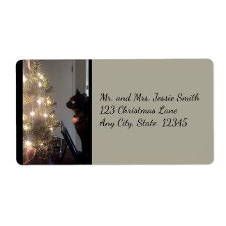 Christmas Joy Calico Cat Shipping Labels