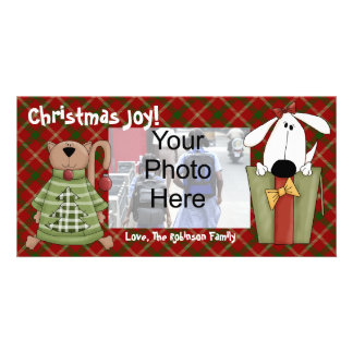 Christmas Joy, Dog and Cat Custom Photo Cards