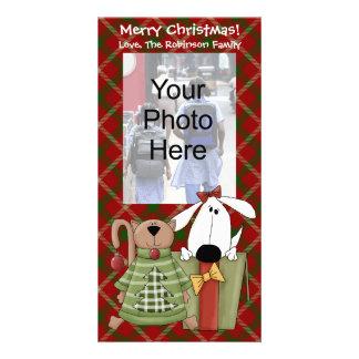 Christmas Joy, Dog & Cat Custom Photo Cards, Vert. Card