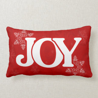 Christmas JOY Elegant Red Snowflake Pattern Lumbar Pillow
