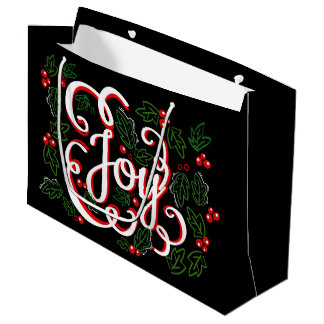 Christmas Joy Flourishes Holly Berries & Leaves Large Gift Bag