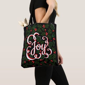 Christmas Joy Flourishes Holly Berries & Leaves Tote Bag