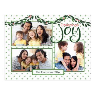 Christmas Joy, Garland and Green Dots Postcard