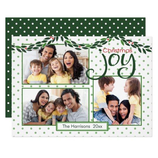 Christmas Joy, Garland and Green Polka Dots Card