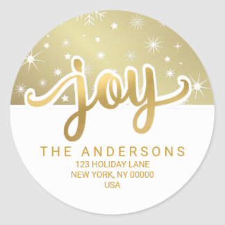 Christmas Joy Gold Handwritten Return Address Classic Round Sticker