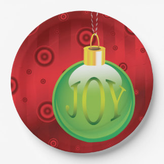 Christmas Joy Green Ornament Holiday Red Xmas 9 Inch Paper Plate