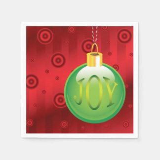 Christmas Joy Green Ornament Holiday Red Xmas Paper Napkin