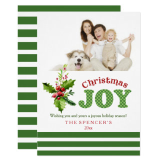 Christmas Joy Holly Holiday Photo Card