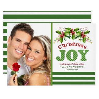 Christmas Joy Holly Photo Holiday Card