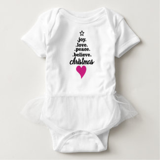 CHRISTMAS, JOY, LOVE, PEACE BABY BABY BODYSUIT
